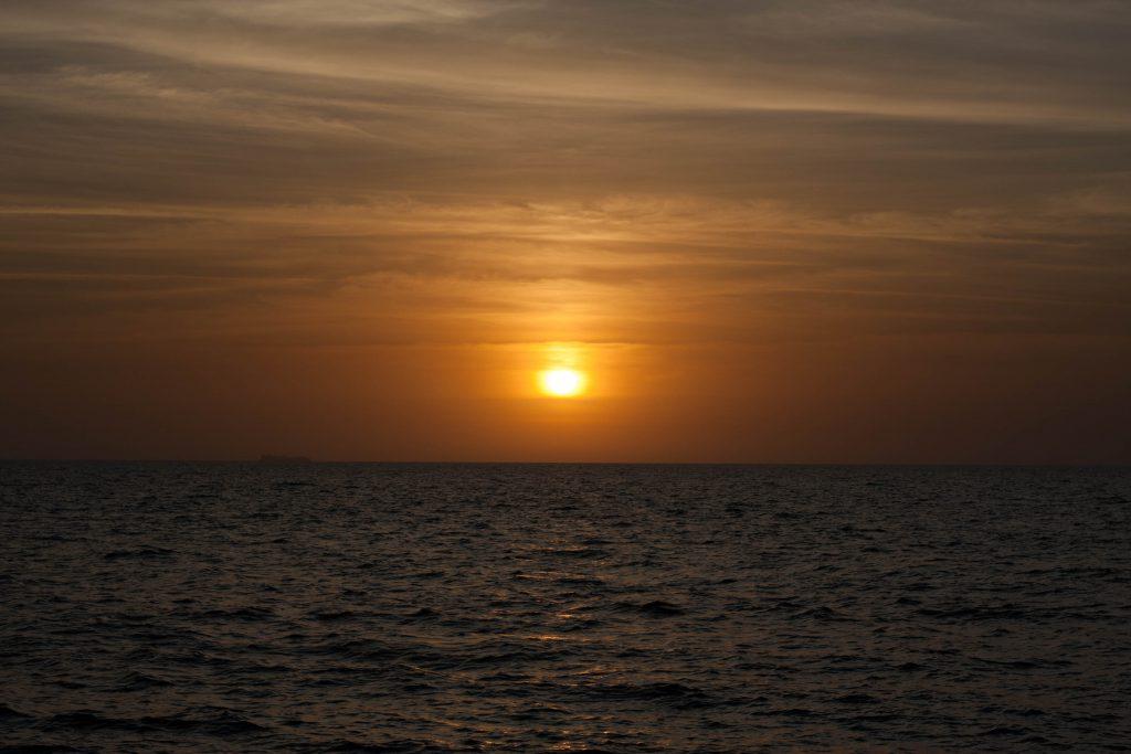 Solnedgang over Middelhavet fra Caesareas kyst.